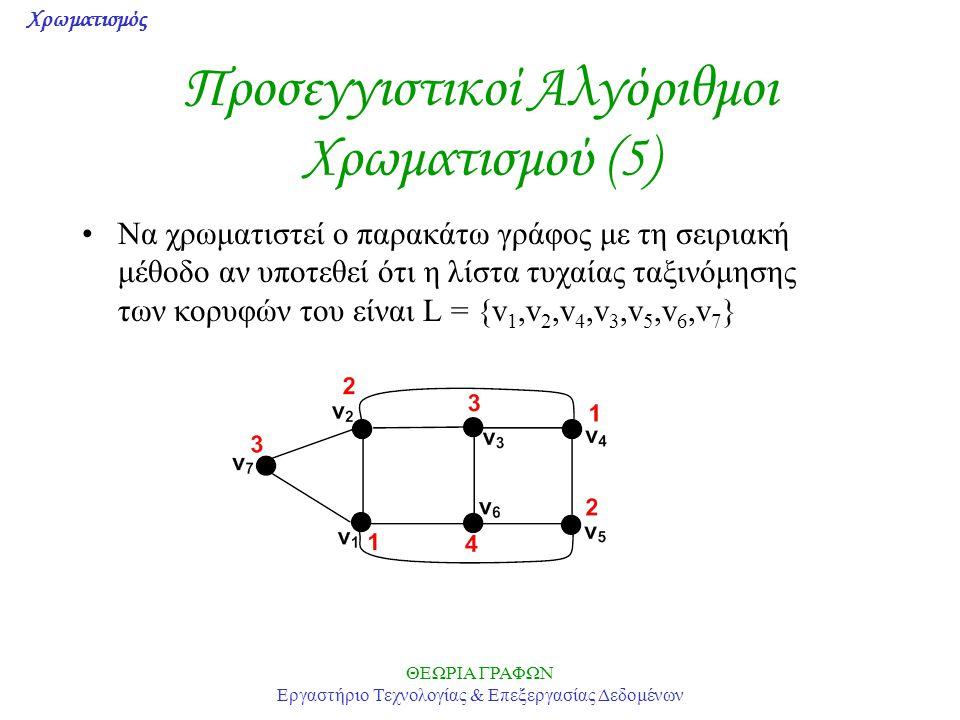 Προσεγγιστικοί Αλγόριθμοι Χρωματισμού (5)