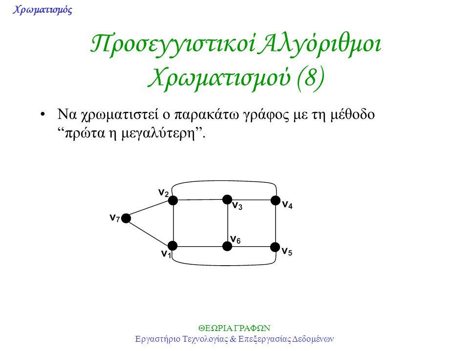 Προσεγγιστικοί Αλγόριθμοι Χρωματισμού (8)