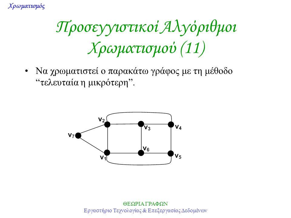 Προσεγγιστικοί Αλγόριθμοι Χρωματισμού (11)