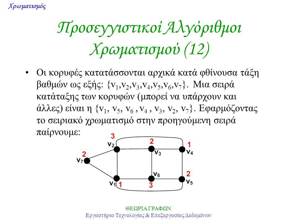 Προσεγγιστικοί Αλγόριθμοι Χρωματισμού (12)