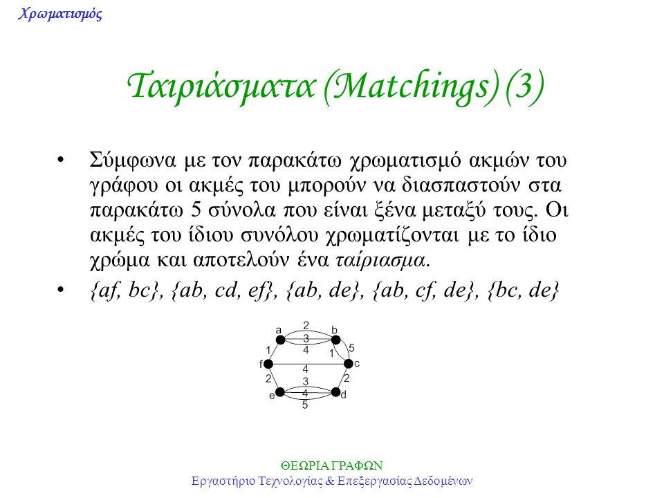 Ταιριάσματα (Matchings) (3)
