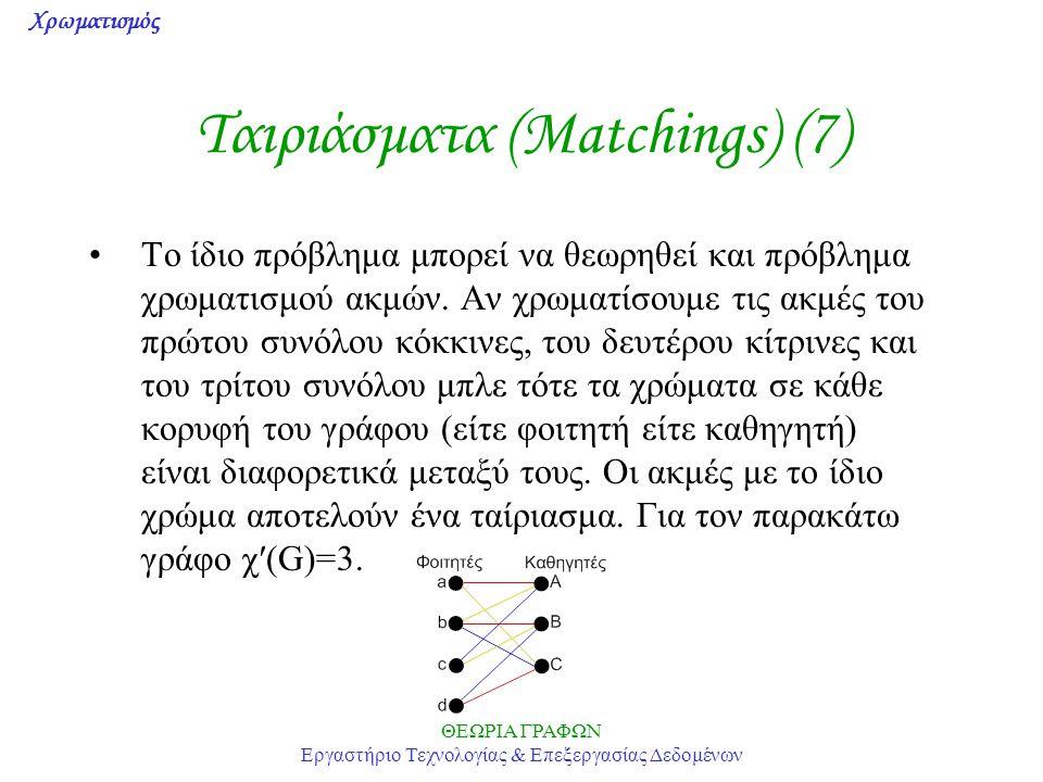Ταιριάσματα (Matchings) (7)