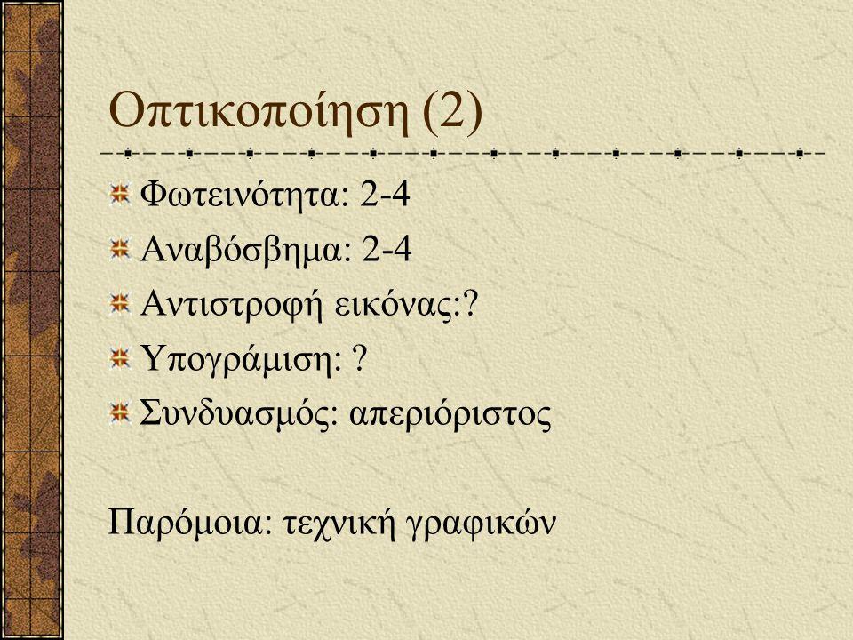 Οπτικοποίηση (2) Φωτεινότητα: 2-4 Αναβόσβημα: 2-4 Αντιστροφή εικόνας: