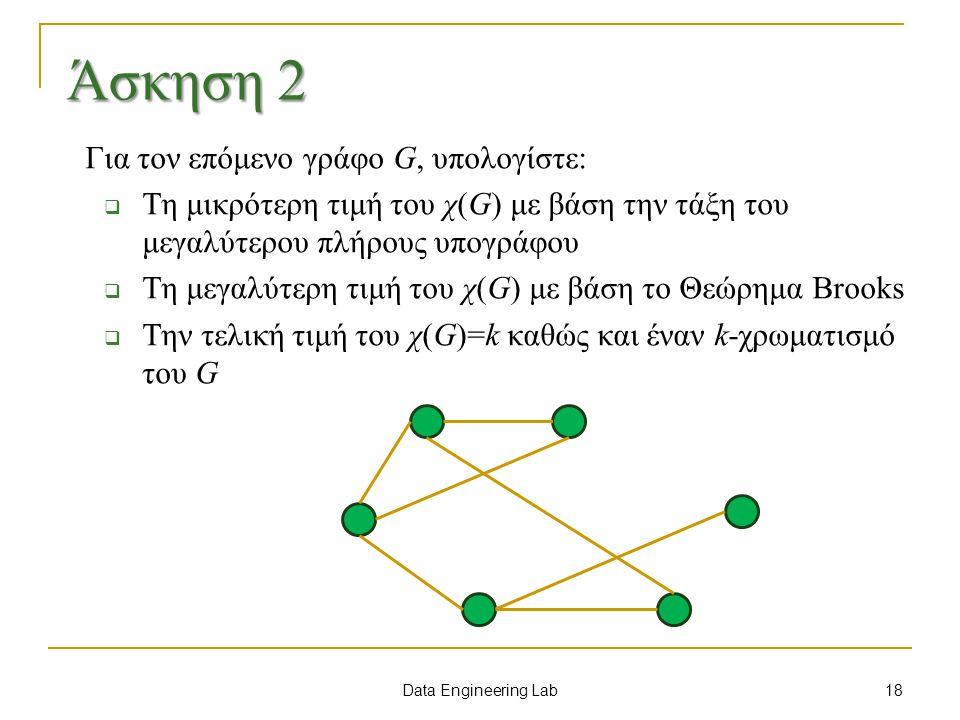 Άσκηση 2 Για τον επόμενο γράφο G, υπολογίστε: