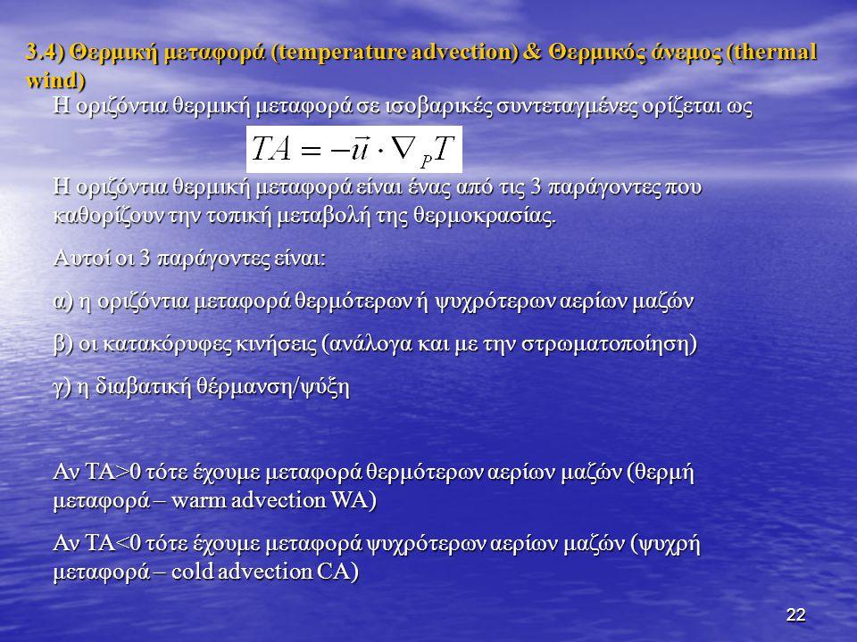 3.4) Θερμική μεταφορά (temperature advection) & Θερμικός άνεμος (thermal wind)