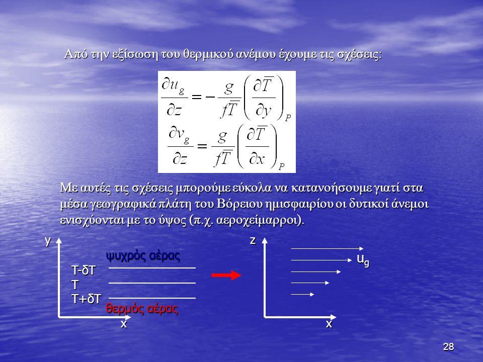 Από την εξίσωση του θερμικού ανέμου έχουμε τις σχέσεις:
