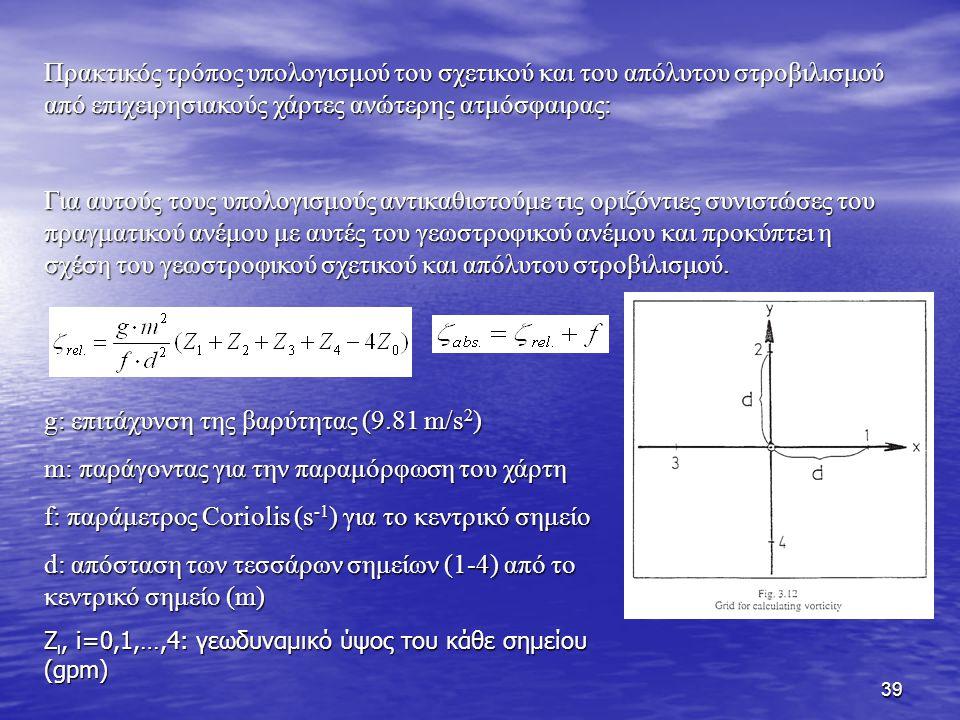 g: επιτάχυνση της βαρύτητας (9.81 m/s2)