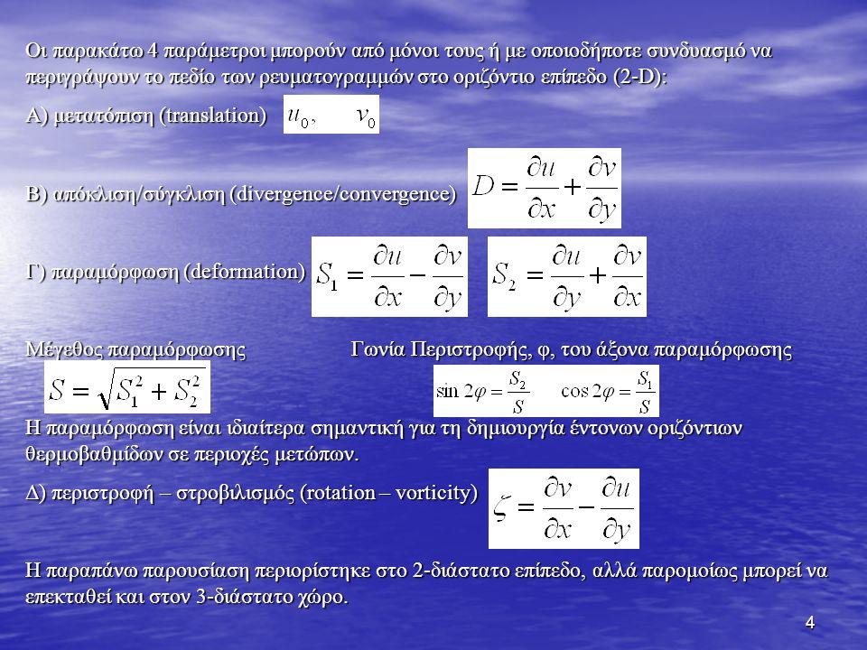 Οι παρακάτω 4 παράμετροι μπορούν από μόνοι τους ή με οποιοδήποτε συνδυασμό να περιγράψουν το πεδίο των ρευματογραμμών στο οριζόντιο επίπεδο (2-D):