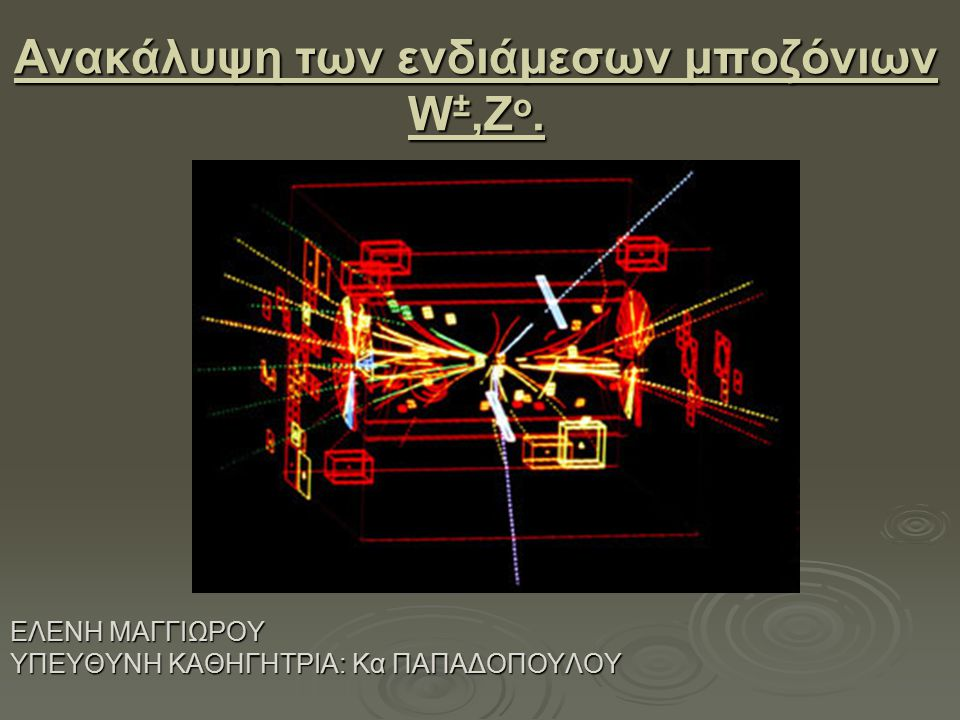 Ανακάλυψη των ενδιάμεσων μποζόνιων W±,Zo.
