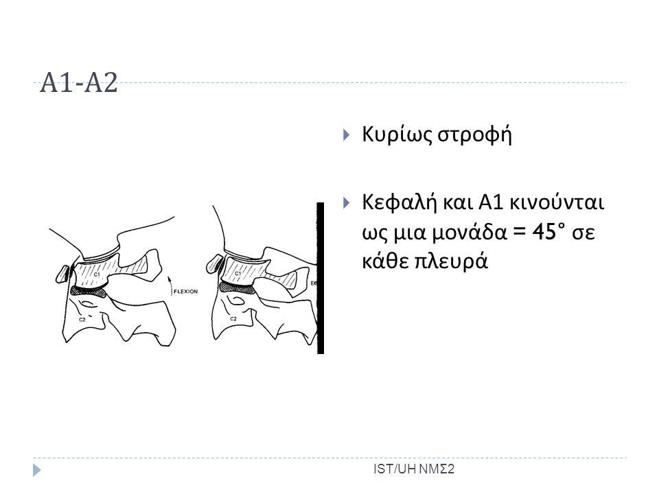 Α1-Α2 Κυρίως στροφή. Κεφαλή και Α1 κινούνται ως μια μονάδα = 45° σε κάθε πλευρά. C1-2;