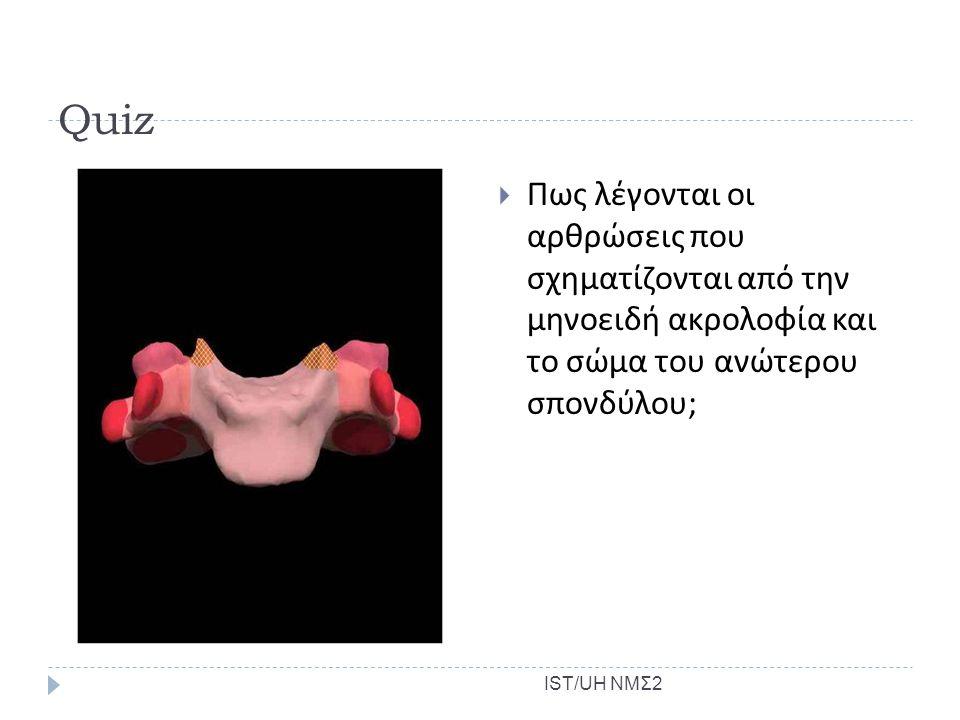Quiz Πως λέγονται οι αρθρώσεις που σχηματίζονται από την μηνοειδή ακρολοφία και το σώμα του ανώτερου σπονδύλου;