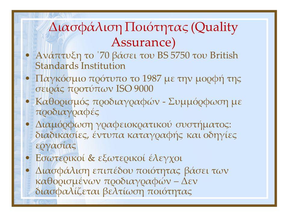 Διασφάλιση Ποιότητας (Quality Assurance)