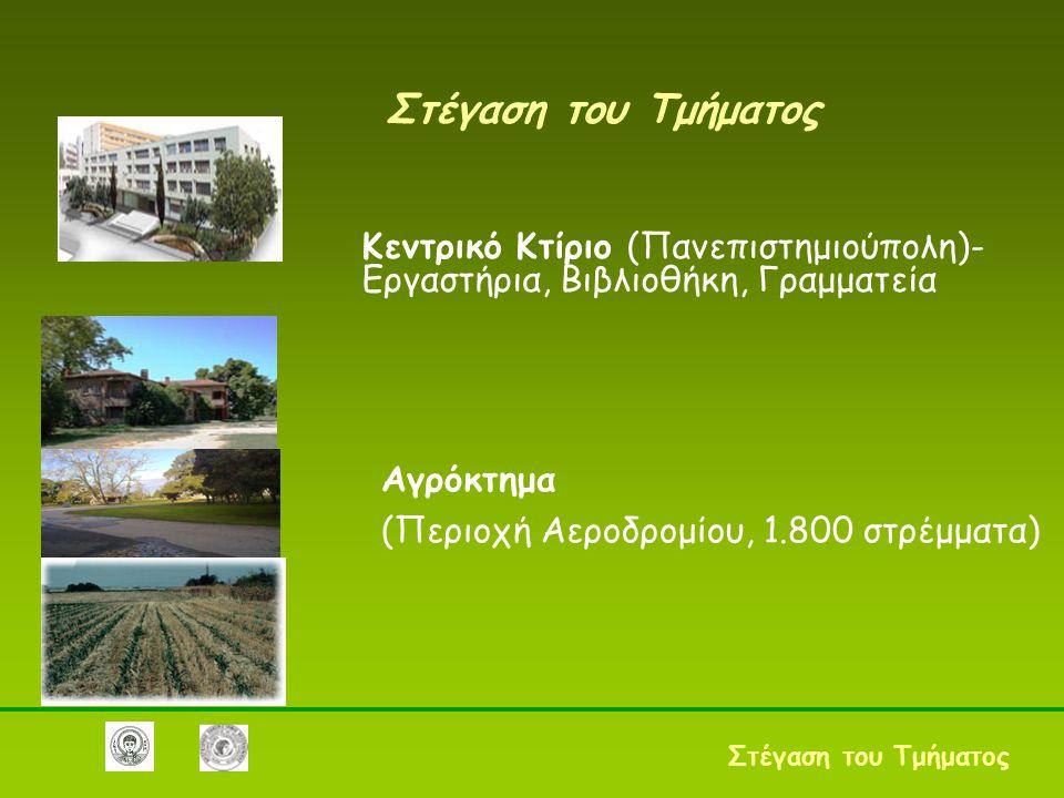 Στέγαση του Τμήματος Κεντρικό Κτίριο (Πανεπιστημιούπολη)-Εργαστήρια, Βιβλιοθήκη, Γραμματεία. Αγρόκτημα.