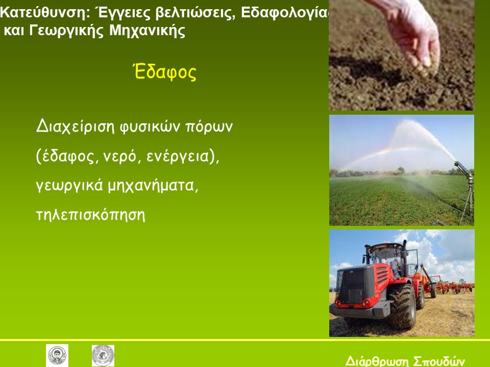 Έδαφος Διαχείριση φυσικών πόρων (έδαφος, νερό, ενέργεια),