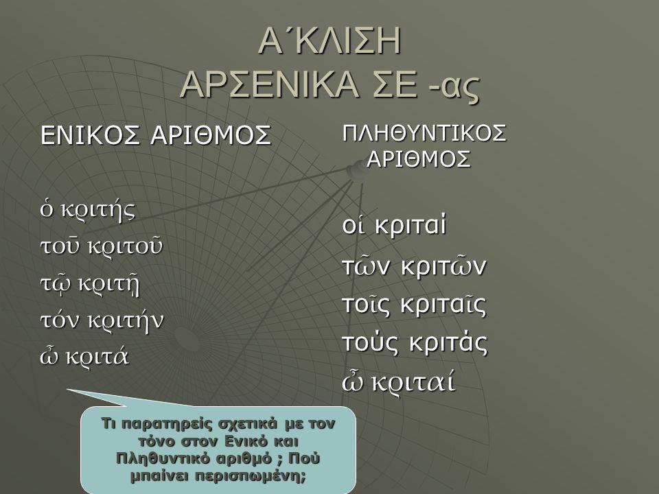 Α΄ΚΛΙΣΗ ΑΡΣΕΝΙΚΑ ΣΕ -ας