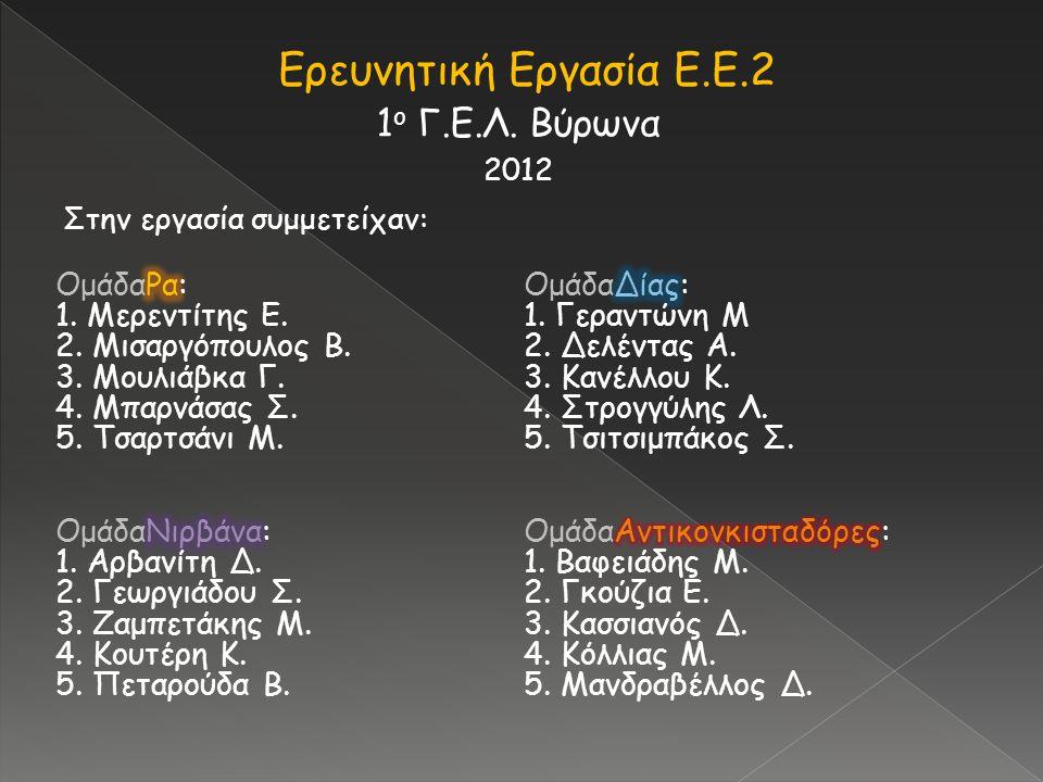 Ερευνητική Εργασία Ε.Ε.2 1ο Γ.Ε.Λ. Βύρωνα ΟμάδαΡα: 1. Μερεντίτης Ε.