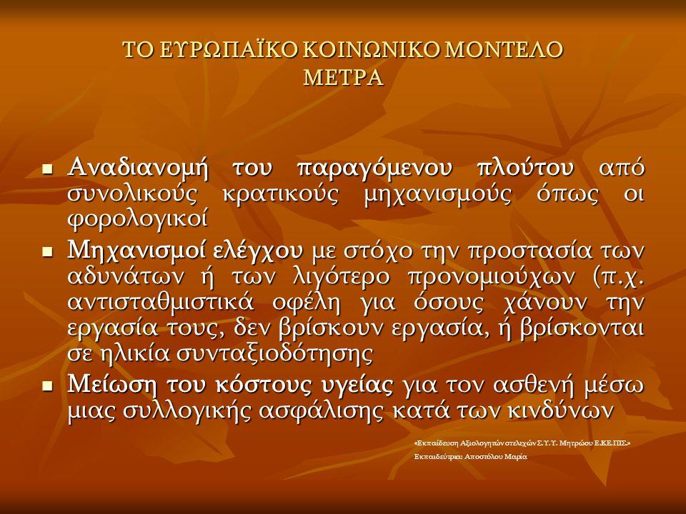 ΤΟ ΕΥΡΩΠΑΪΚΟ ΚΟΙΝΩΝΙΚΟ ΜΟΝΤΕΛΟ ΜΕΤΡΑ