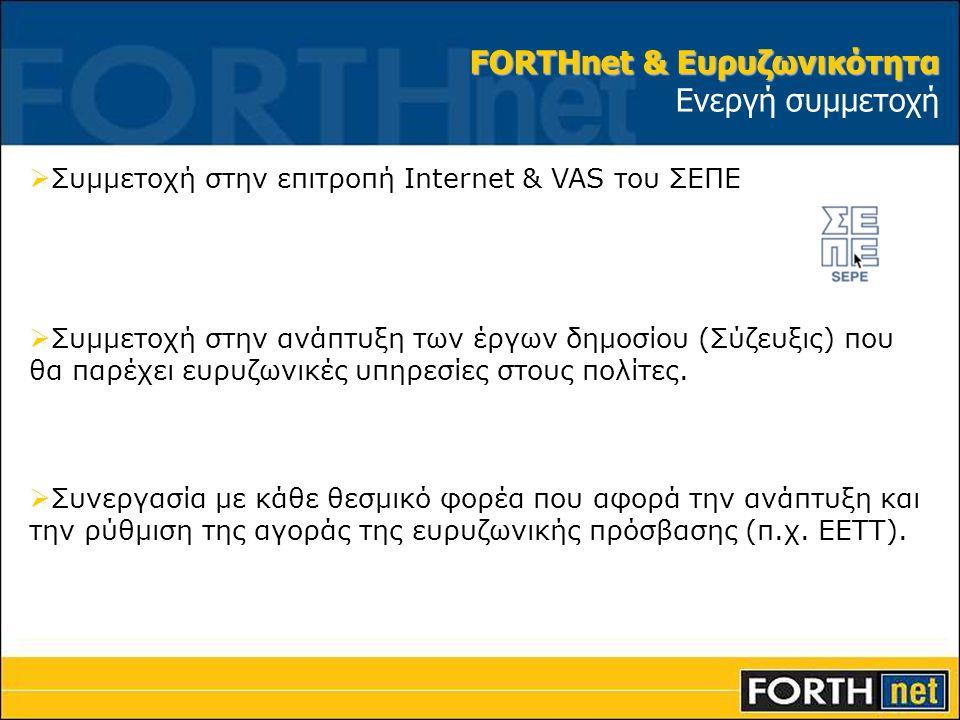 FORTHnet & Ευρυζωνικότητα Ενεργή συμμετοχή