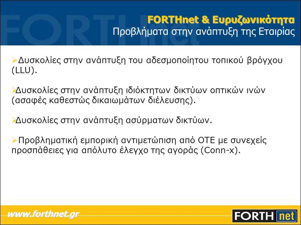 FORTHnet & Ευρυζωνικότητα Προβλήματα στην ανάπτυξη της Εταιρίας