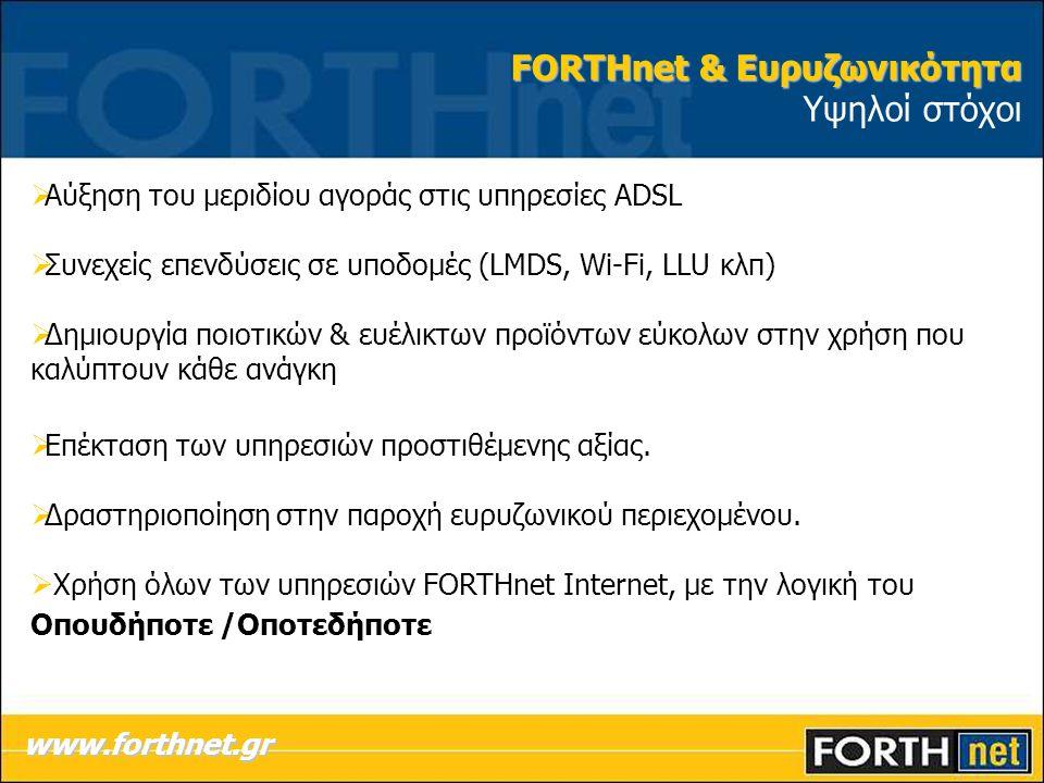 FORTHnet & Ευρυζωνικότητα Υψηλοί στόχοι