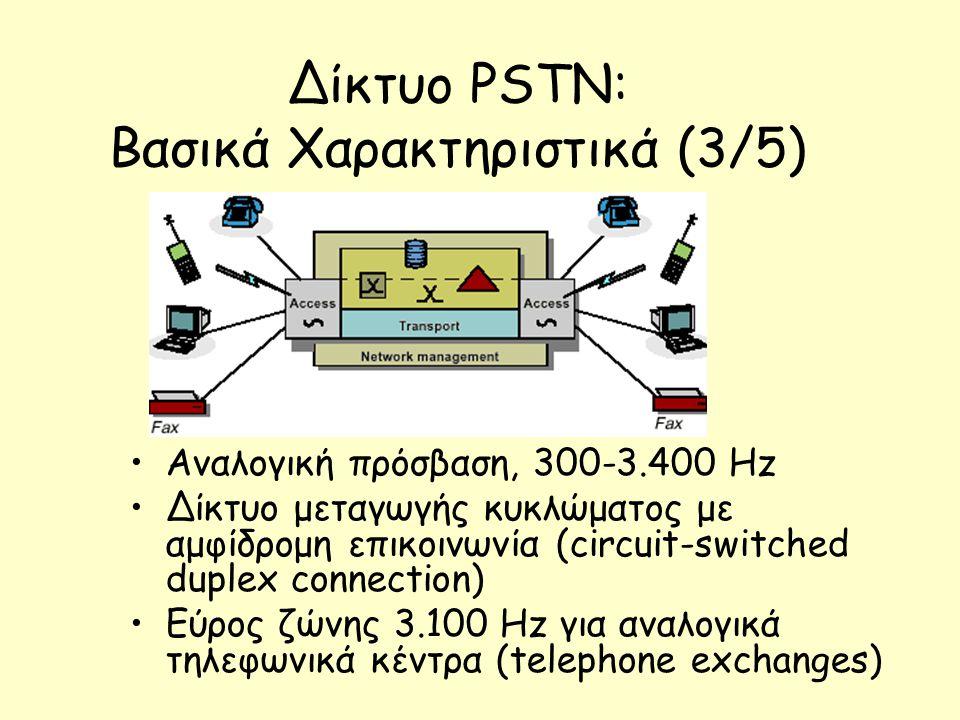 Δίκτυο PSTN: Βασικά Χαρακτηριστικά (3/5)