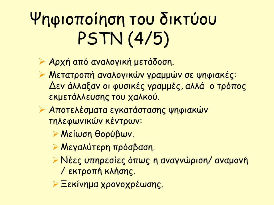 Ψηφιοποίηση του δικτύου PSTN (4/5)