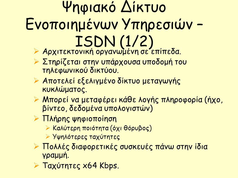 Ψηφιακό Δίκτυο Ενοποιημένων Υπηρεσιών – ISDN (1/2)