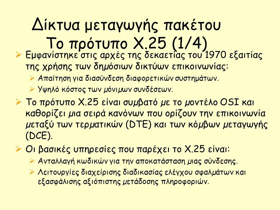 Δίκτυα μεταγωγής πακέτου Το πρότυπο Χ.25 (1/4)