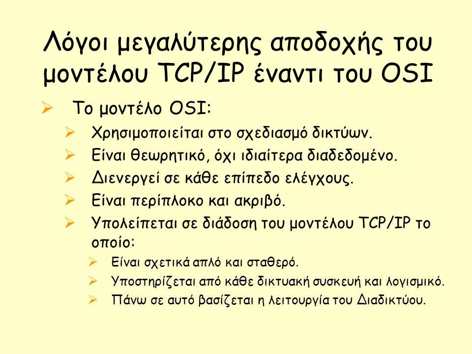 Λόγοι μεγαλύτερης αποδοχής του μοντέλου TCP/IP έναντι του OSI
