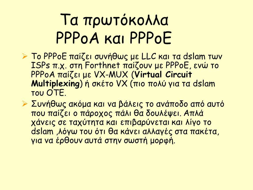 Τα πρωτόκολλα PPPoA και ΡΡΡοΕ