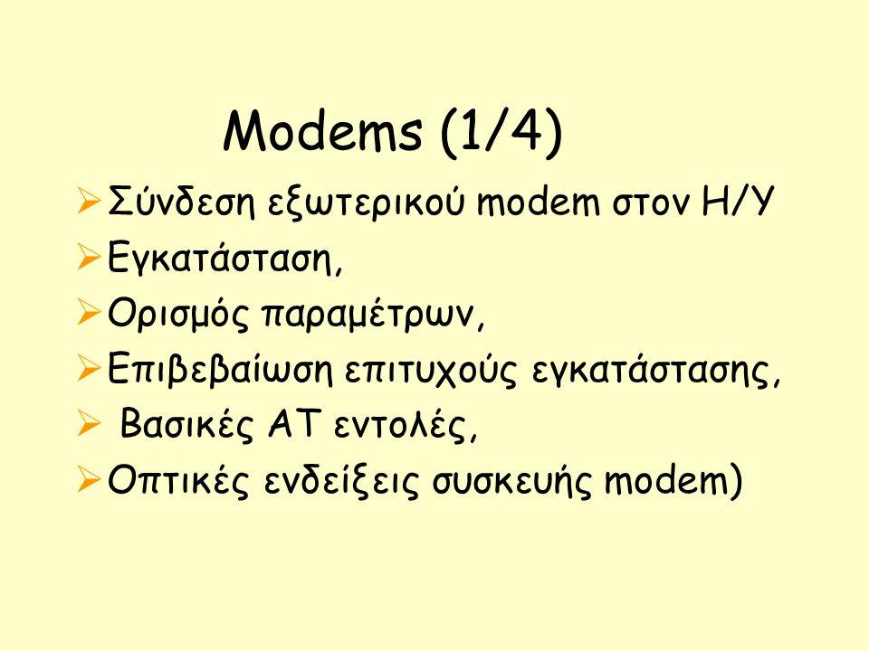 Μodems (1/4) Σύνδεση εξωτερικού modem στον Η/Υ Εγκατάσταση,