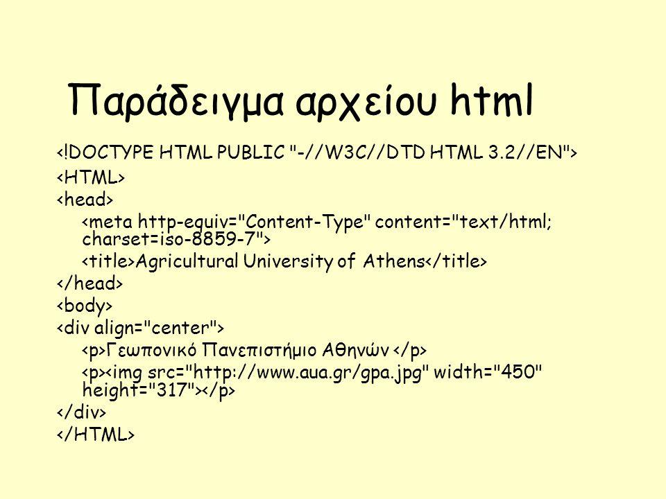 Παράδειγμα αρχείου html