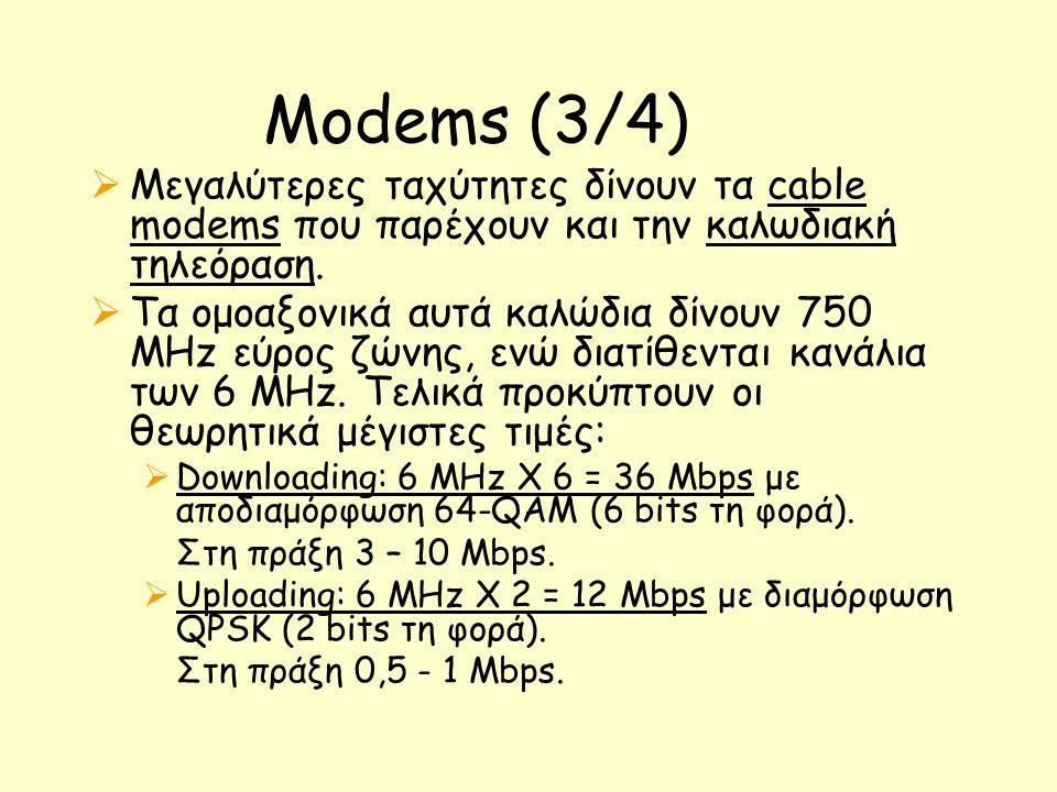 Modems (3/4) Μεγαλύτερες ταχύτητες δίνουν τα cable modems που παρέχουν και την καλωδιακή τηλεόραση.