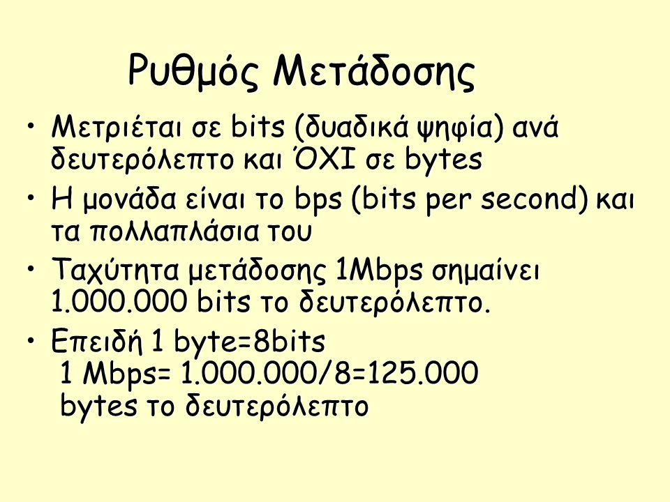Ρυθμός Μετάδοσης Μετριέται σε bits (δυαδικά ψηφία) ανά δευτερόλεπτο και ΌΧΙ σε bytes. H μονάδα είναι το bps (bits per second) και τα πολλαπλάσια του.