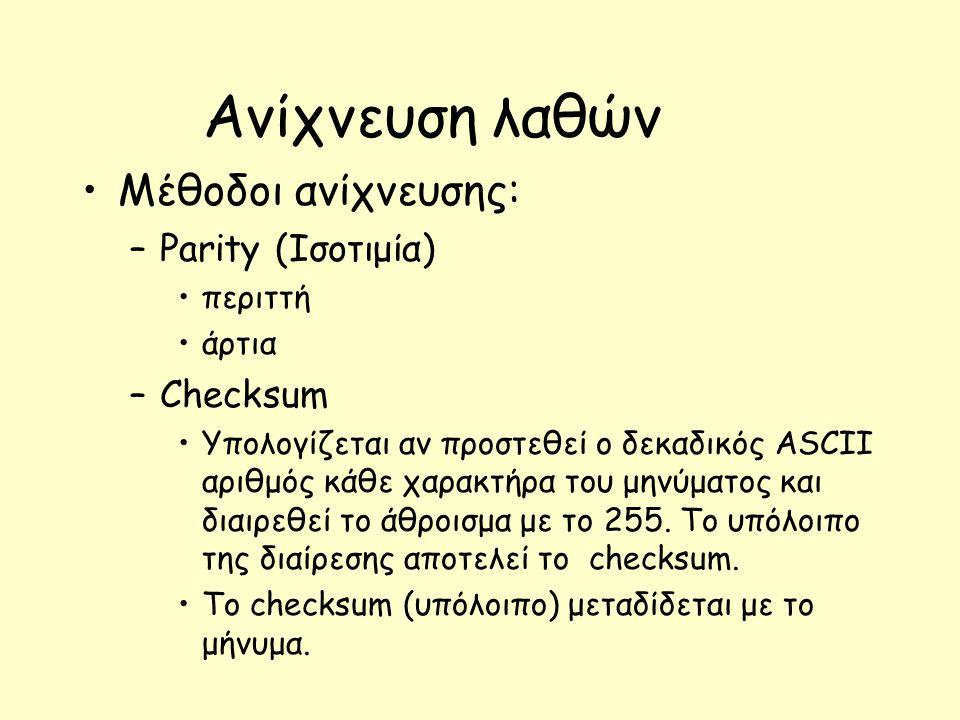 Ανίχνευση λαθών Μέθοδοι ανίχνευσης: Parity (Ισοτιμία) Checksum περιττή