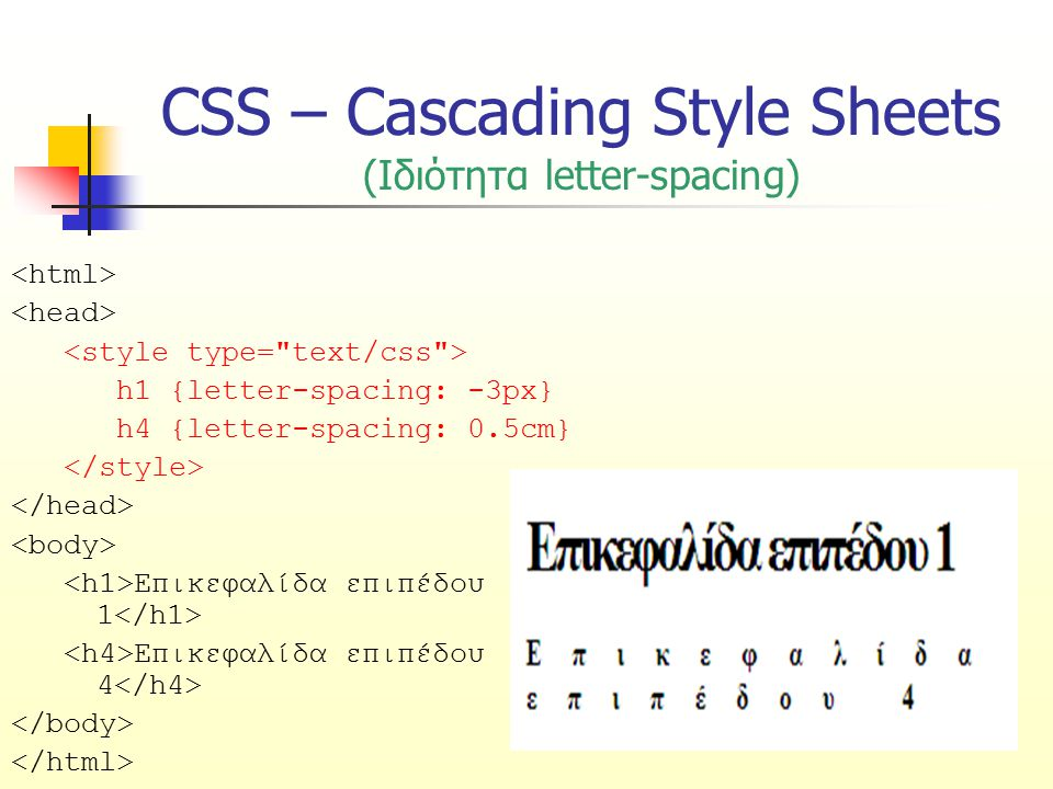 CSS – Cascading Style Sheets (Ιδιότητα letter-spacing)