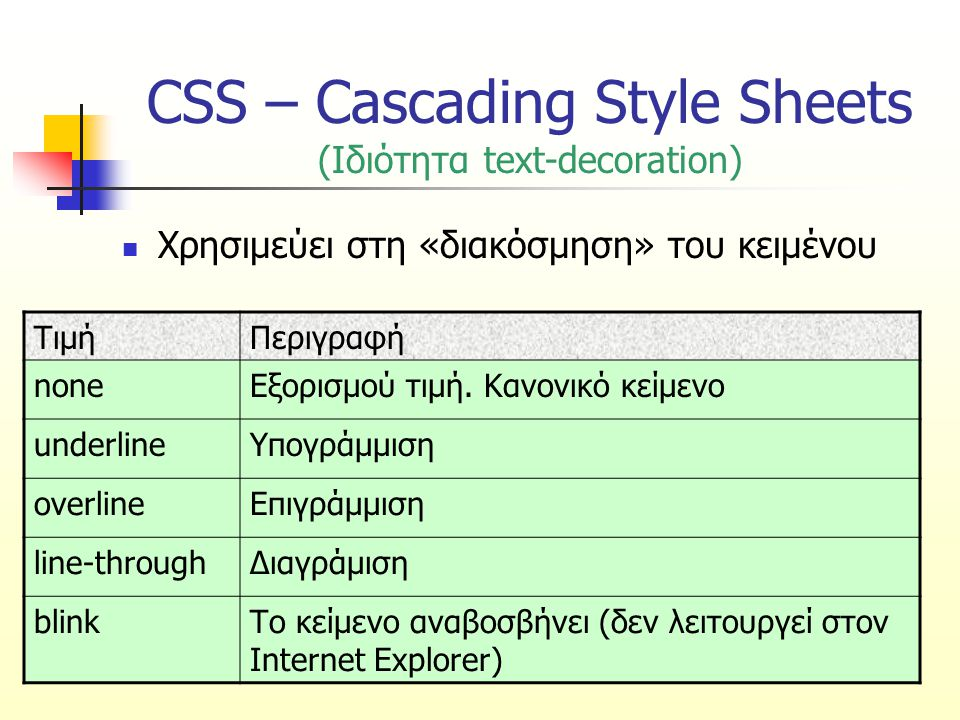 CSS – Cascading Style Sheets (Ιδιότητα text-decoration)