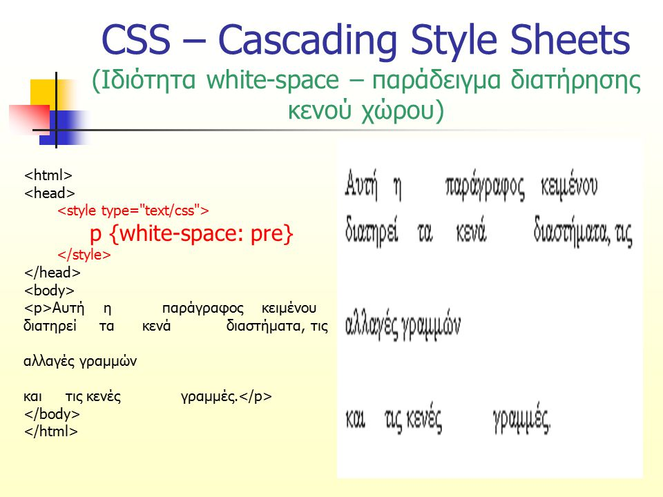 CSS – Cascading Style Sheets (Ιδιότητα white-space – παράδειγμα διατήρησης κενού χώρου)