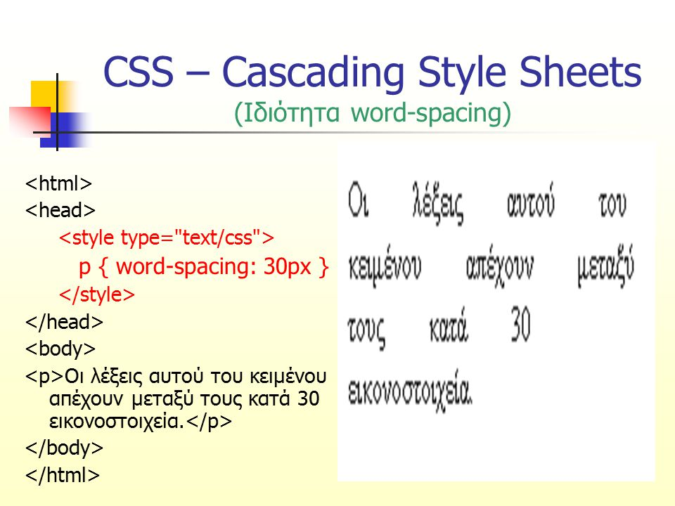 CSS – Cascading Style Sheets (Ιδιότητα word-spacing)