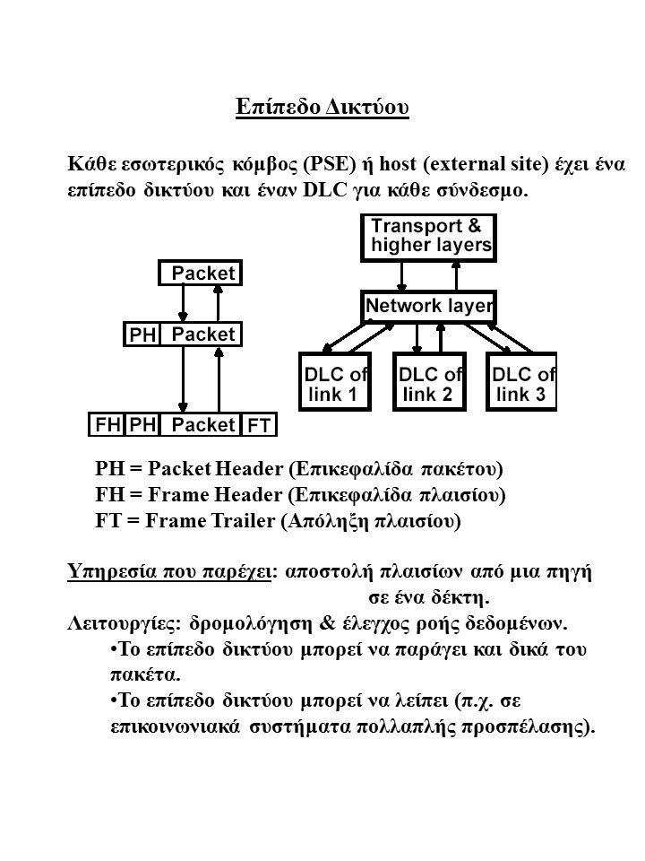 Επίπεδο Δικτύου Κάθε εσωτερικός κόμβος (PSE) ή host (external site) έχει ένα επίπεδο δικτύου και έναν DLC για κάθε σύνδεσμο.