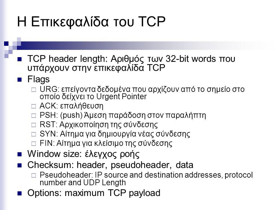 Η Επικεφαλίδα του TCP TCP header length: Αριθμός των 32-bit words που υπάρχουν στην επικεφαλίδα TCP.