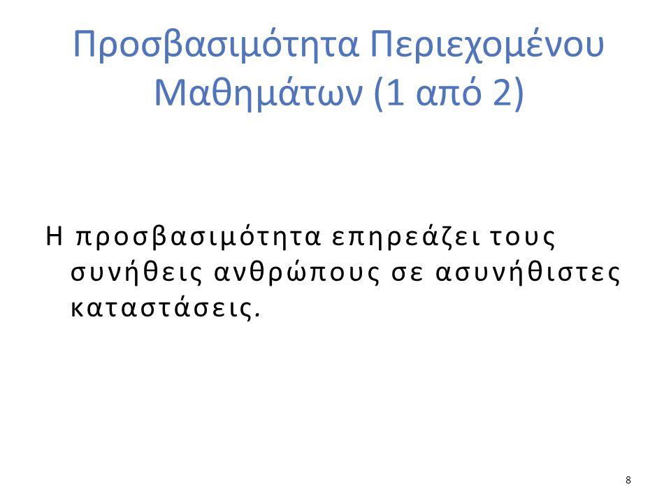 Προσβασιμότητα Περιεχομένου Μαθημάτων (1 από 2)