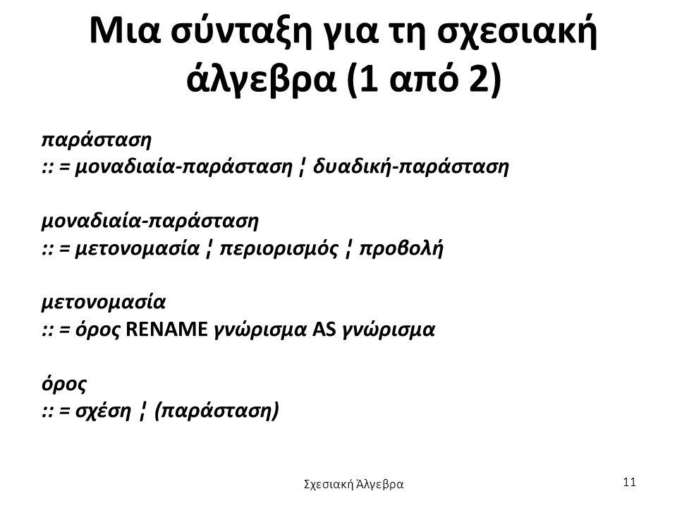 Μια σύνταξη για τη σχεσιακή άλγεβρα (1 από 2)
