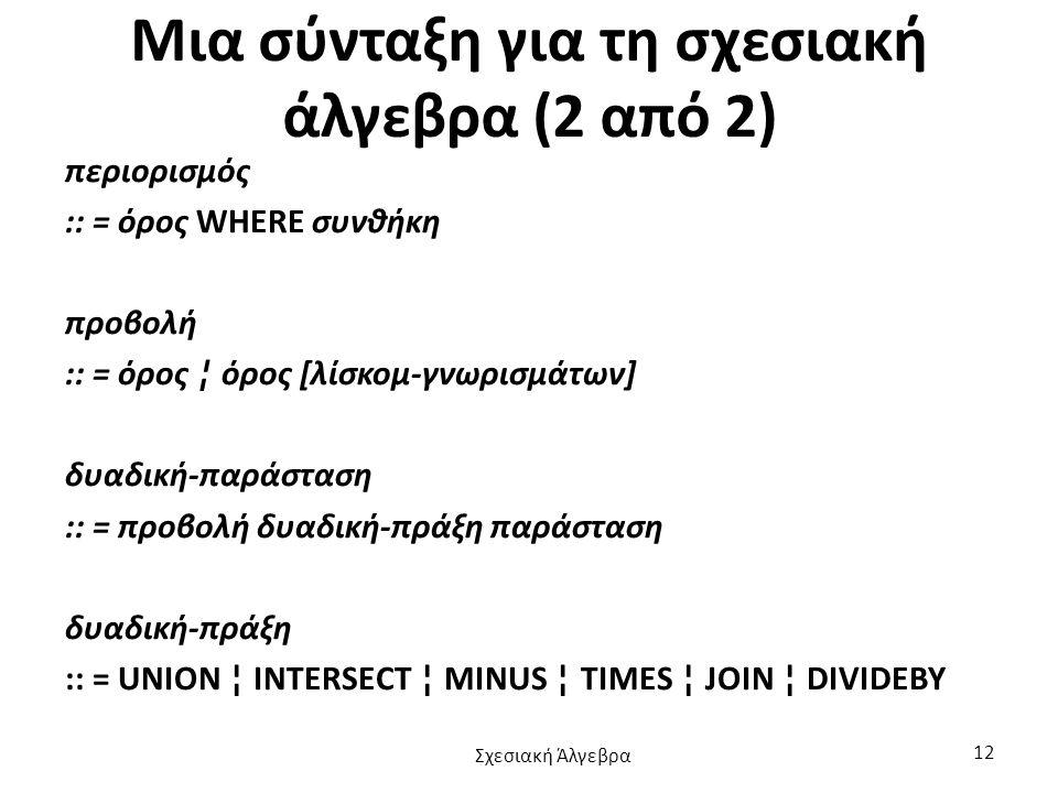 Μια σύνταξη για τη σχεσιακή άλγεβρα (2 από 2)