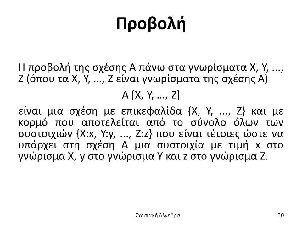 Προβολή Η προβολή της σχέσης Α πάνω στα γνωρίσματα Χ, Υ, ..., Ζ (όπου τα Χ, Υ, ..., Ζ είναι γνωρίσματα της σχέσης Α)