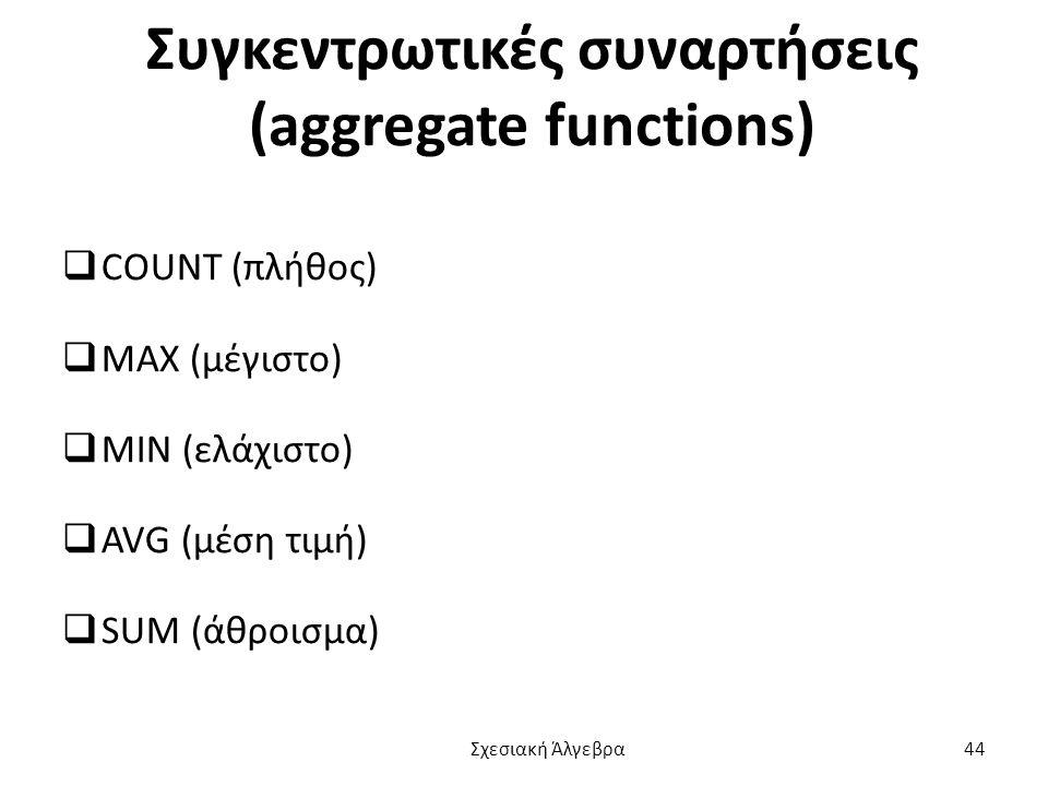 Συγκεντρωτικές συναρτήσεις (aggregate functions)