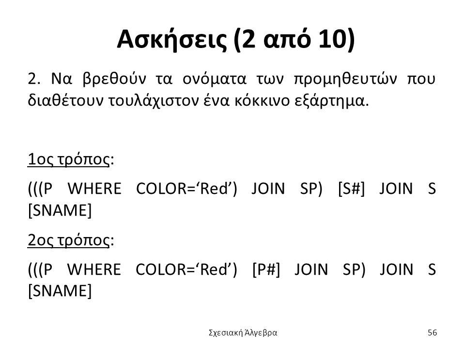 Ασκήσεις (2 από 10) 2. Να βρεθούν τα ονόματα των προμηθευτών που διαθέτουν τουλάχιστον ένα κόκκινο εξάρτημα.