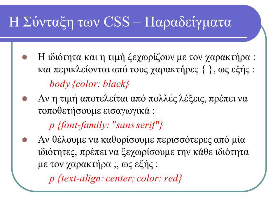 Η Σύνταξη των CSS – Παραδείγματα