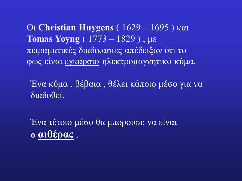 Οι Christian Huygens ( 1629 – 1695 ) και Tomas Yoyng ( 1773 – 1829 ) , με πειραματικές διαδικασίες απέδειξαν ότι το φως είναι εγκάρσιο ηλεκτρομαγνητικό κύμα.
