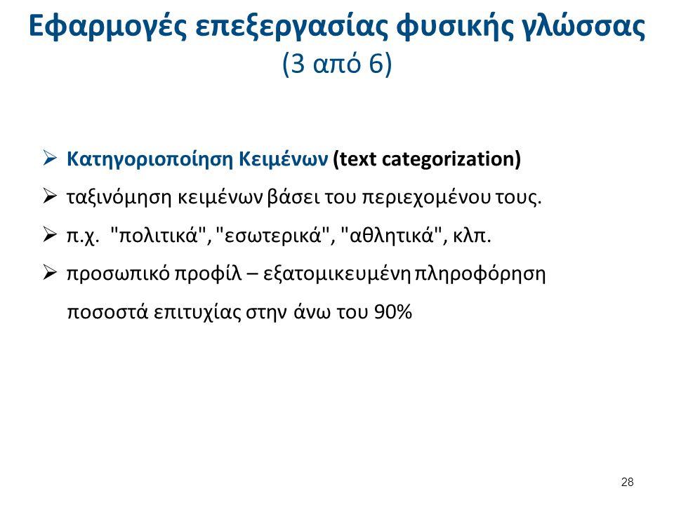 Εφαρμογές επεξεργασίας φυσικής γλώσσας (4 από 6)